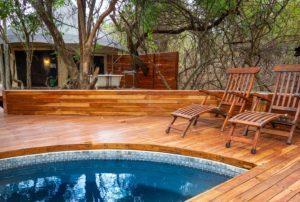 wooden pool deck